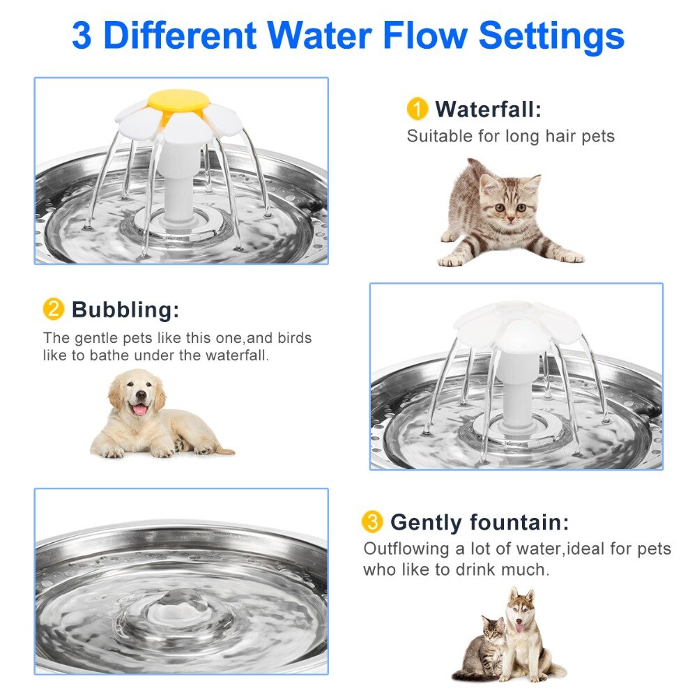 3 different water flow settings