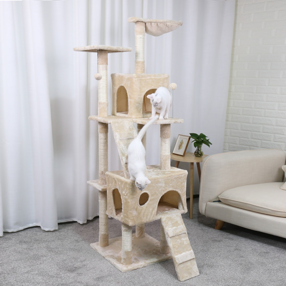 two cats on the cat tower