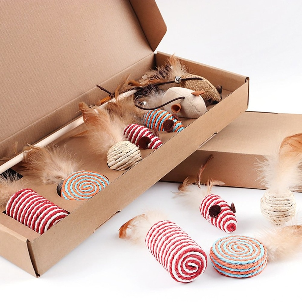 Wood and Feather Cat Toys Set