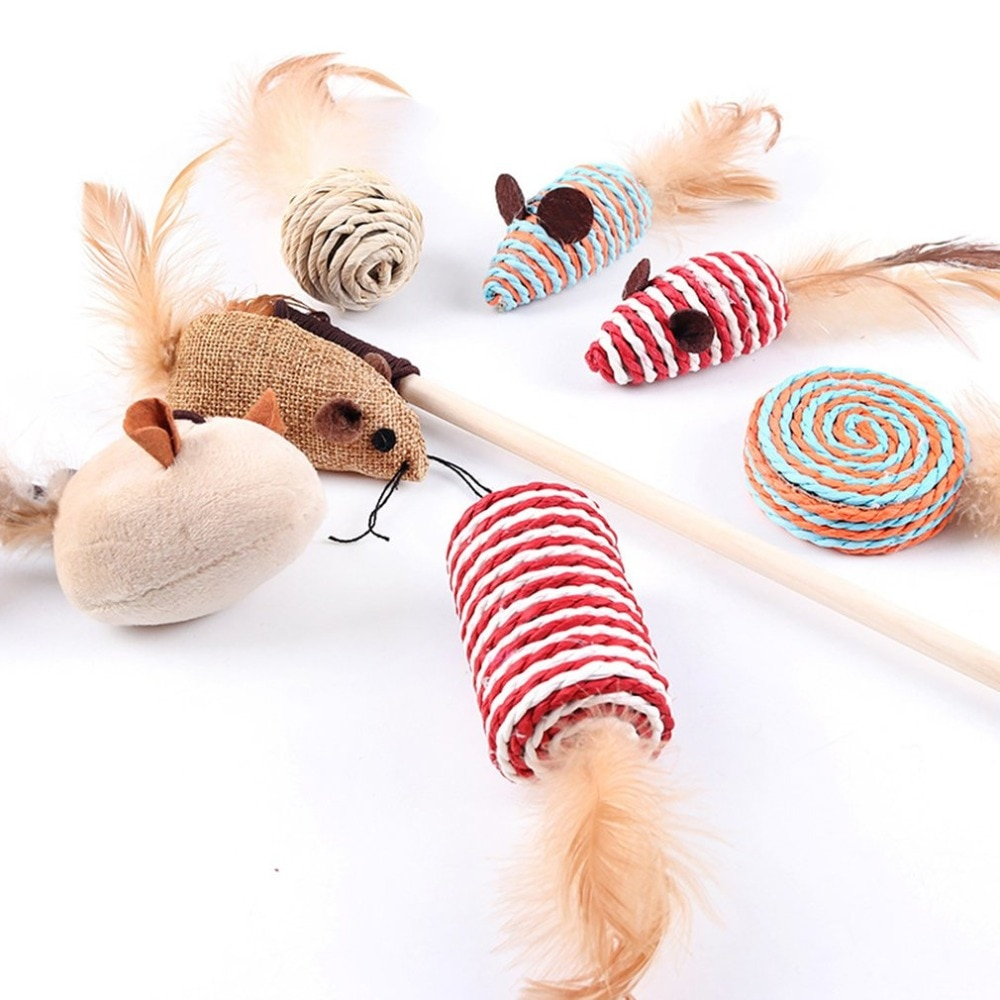 Cat Toys Set - Wood and Feather
