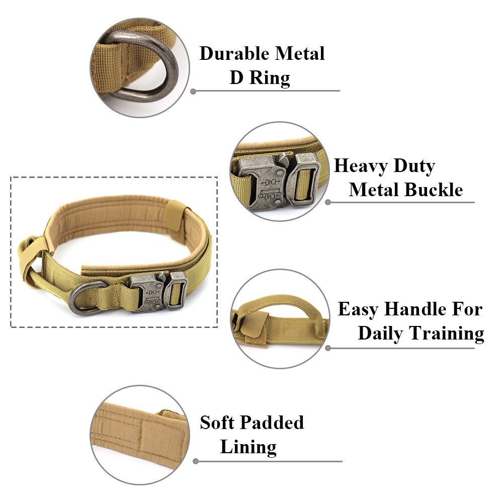 Tactical Military Dog Collar With Handle Features