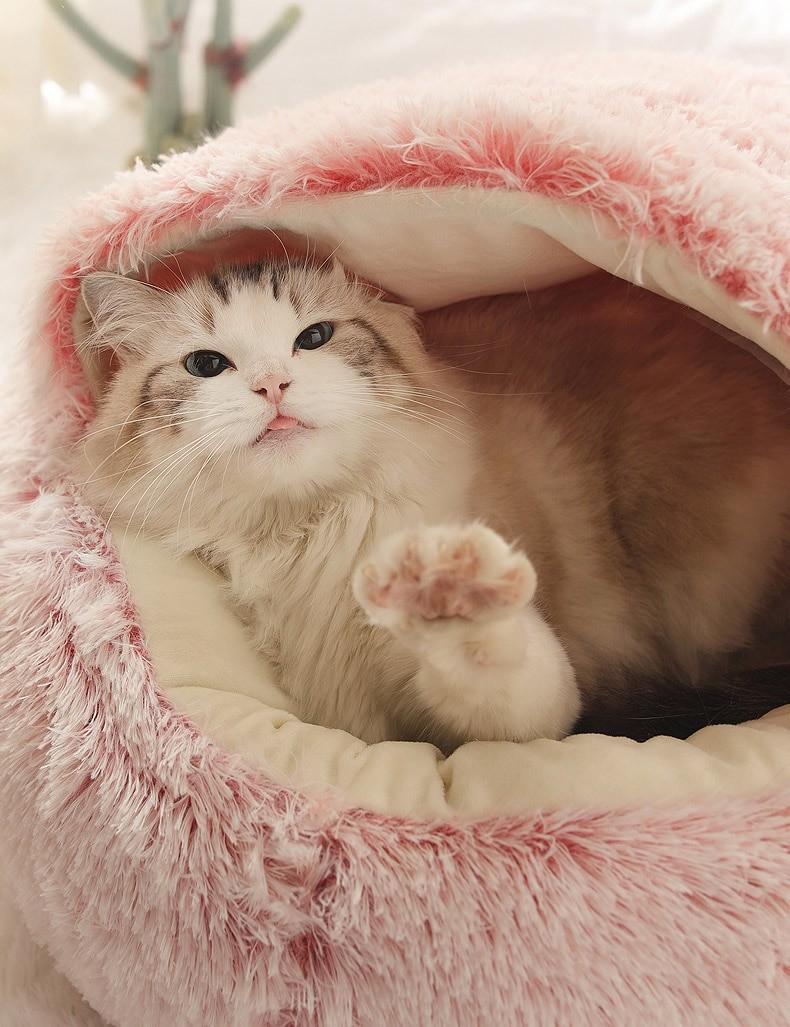 Hot Plush Round Cat Bed